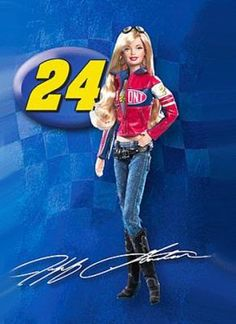 Not only is she a NASCAR Barbie, but she's a Jeff Gordon fan too!