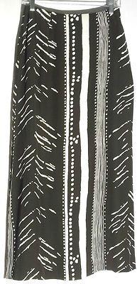 Silk CITI BY YANSI FUGEL Chocolate and Ivory Print Long Skirt - Splits - Size 6