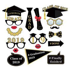 18pcs Photo Booth Props Graduation Party Decoration 2019 Bachelor Cap Grad Congrats Graduated Supplies PhotoBooth
