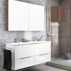 Meuble salle de bain 120 cm avec armoire de toilette, Hydra