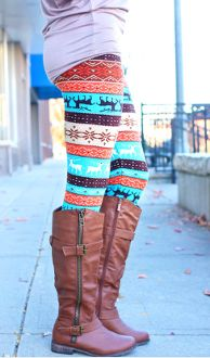 Turquoise Reindeer Print Leggings $16.00 leggings