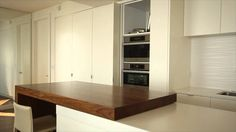 Bright Wood Works: White Kitchen, Sliding Counter-Top, Unique Drawers, a...