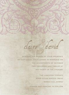 Vintage wedding invitation $15