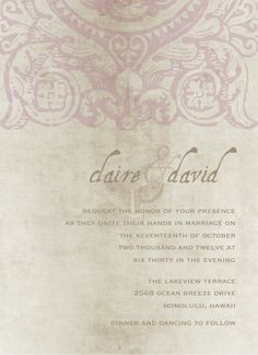 Vintage wedding invitation $15
