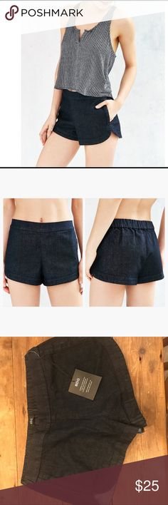 Urban outfitters BDG dolphin hem denim shorts New with tag! BDG Dolphin-hem Black Rinsed Denim Boxer Shorts. Laid-back take on the classic denim short from Urban Outfitters staple collection BDG. Short + easy pull-on silhouette featuring a banded dolphin hemline and low-rise elastic-banded waist finished with side-entry pouch pockets. Urban Outfitters Shorts Jean Shorts