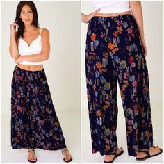 Womens Patterned Pleated Culottes Palazzo Trousers Wide Leg Elasticated Waist  #Unbranded #Palazzo #Holiday Yoga Pants, Harem Pants, Palazzo Trousers, Pants Outfit, Parachute Pants, Wide Leg, Legs, Clothes For Women, Beach