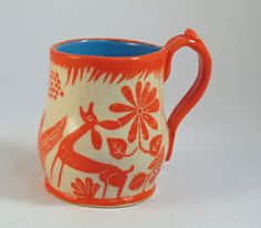 Orange DEER Mug Sgraffito Carved Design on by TheClayBungalow, $28.00