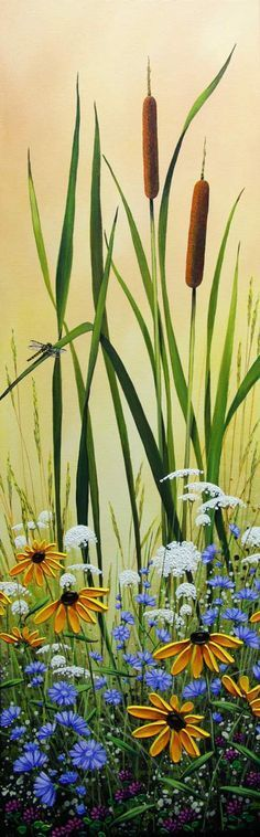 """Cattails and Lace"", Acrylic on Canvas, 36x12"", by Jordan Hicks at Crescent Hill Gallery in Mississauga, ON (SOLD, but click on photo for similar new available pieces)"