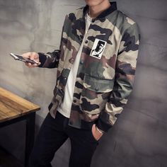 new-arrival-2016-military-style-fashion-character-print-camouflage-bomber-jacket-men-veste-homme-men-s Military Jacket, Bomber Jacket, Jackets, Character, Fashion, Fashion Show, Military Fashion, Wraps, Trends