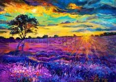 Picture of Original oil painting of lavender fields on canvas Sunset landscape Modern Impressionism stock photo, images and stock photography. Tree Canvas, Flower Canvas, Sunset Landscape, Landscape Art, Tardis Art, Australia Landscape, Painting Prints, Canvas Prints, Surrealism Painting