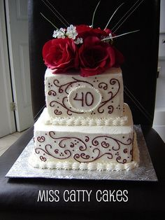 40th Wedding Anniversary Cake by Miss Catty Cakes Cake Design, via Flickr