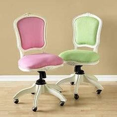 Pink and green desk chairs
