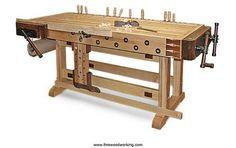 Woodworker: Greg Scala Scala knew that he needed a workbench that was dead-flat, sturdy, equipped with good vises, and built at the right height for his frame. He also wanted a board. Workbench Designs, Workbench Plans, Woodworking Workbench, Fine Woodworking, Woodworking Projects, Folding Workbench, Woodworking Equipment, Build Your Own Garage, Tool Bench