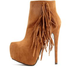 Ally Tan Fringe HIgh Heel Ankle Boots ($22) ❤ liked on Polyvore featuring shoes, boots, ankle booties, brown, tan fringe booties, brown booties, ankle boots, high heel ankle booties and brown fringe booties