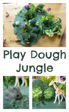 Jungle small world :: play dough fun On offer today we had some homemade green play dough, some leaves and flowers picked from the garden, and a few stalks of broccoli. Jungle Activities, Preschool Jungle, Eyfs Activities, Nursery Activities, Animal Activities, Toddler Activities, Playdough Activities, Rainforest Activities, Summer Activities