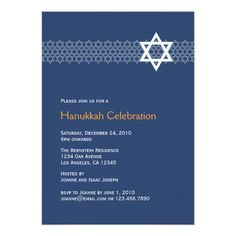 Shining Star Hanukkah Party Invitation Simple star pattern for your Hanukkah party invitation. Available in more colors. Please feel free to contact me at mistyqe@yahoo.com for a custom order....read more