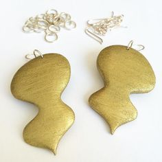 real golden earrings. clay and gilding liquid #richgold #earrings #handcrafted #jewelry #jewels #clay