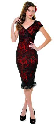 Red & Black Lace Annabella Wiggle Dress