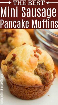 Mini Sausage Pancake Muffins - The Best Breakfast Recipes Breakfast Bites, Breakfast Pancakes, What's For Breakfast, Best Breakfast Recipes, How To Make Breakfast, Sausage Breakfast, Brunch Recipes, Pancake Sausage Muffins, Pancake Muffins Recipe Bisquick
