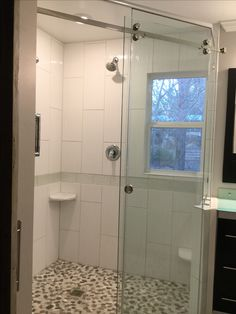 Small 9'x7' bathroom remodel. Created a Diagonal huge shower for two or more with plenty of space for linen closet vanity and toilet