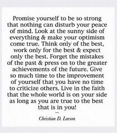 Promise yourself...