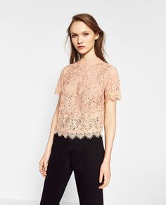 Image 3 of EMBROIDERED LACE T-SHIRT from Zara