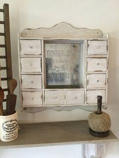 Wall Cabinet ~ General Store Advertisement On Herb/Spice Cabinet ~ Apothecary  Cabinet ~ Small Mulit Drawers ~ Aged Mirror ~ Etched Mirror