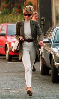 princess diana in brown leather coat