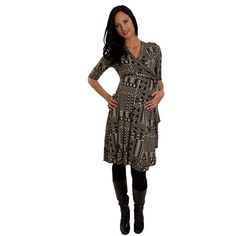 Kaitlyn Geometric Print Wrap Dress by Everly Grey | Maternity Clothes ($73) via Polyvore