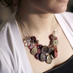 Rose Colored Button Necklace by Objects and Subjects