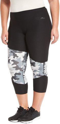 X by Gottex Colorblock Capri Performance Legging Black/Camo Plus Size * For more information, visit image link.