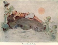 Mabel Lucie Attwell ~ A mermaid caught Wendy. ~ Peter Pan and Wendy by J. M. Barrie ~ Charles Scribner's Sons ~ 1921