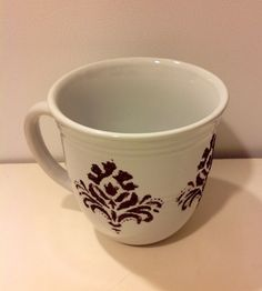 Brown Damask Glitter Decorated Ceramic Coffee by MaidenLongIsland