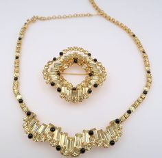 Kramer Of New York Yellow and Black Rhinestone Necklace and Brooch Set