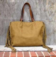 Rustic Leather Fringe Tote Bag in Dark Mustard by stacyleigh, $285.00