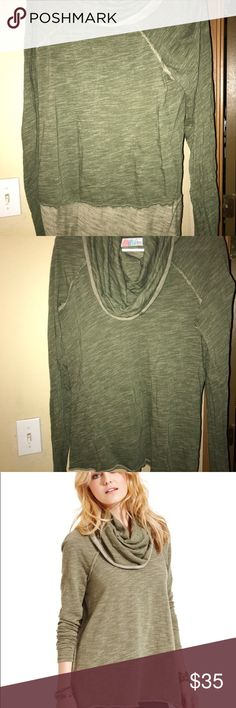 NWOT Free people Cowl neck top NWOT Free people Cowl neck sweatshirt. Size m/l and color is green. Perfect condition! Free People Sweaters Cowl & Turtlenecks