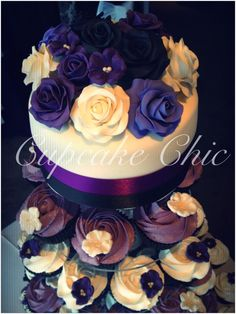 Purple roses Cupcake Towers, Purple Roses, Birthday Cake, Desserts, Food, Birthday Cakes, Meal, Deserts, Essen