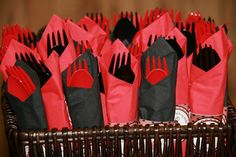 Red & black dinnerware for a Grad party