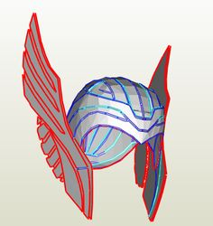 Thor - Helmet -Scaled to Adult size Pepakura File on Onekura. Make your own costumes and accessories.