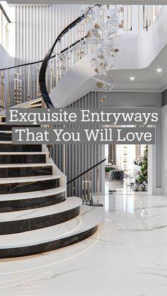 Home Entrance Decor, House Entrance, Entryway Decor, Grand Entrance, Foyer, Luxury Modern Homes, Luxury Home Decor, Home Room Design, Home Design Plans