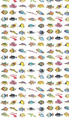 30 Cute Cartoon Tropical Fish fabric by lillyarts on Spoonflower - custom fabric- It helps to fishualize what you want.