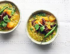 This recipe is taken from Healthy Comfort Dishes. There is nothingmore delicious or comforting to me than a big fragrant bowl of dhal on a wintery day. This one made with seasonal pumpkin gently spiced Healthy Eating Recipes, Nutritious Meals, Veggie Recipes, Soup Recipes, Vegetarian Recipes, Cooking Recipes, Vegan Soups, Vegan Meals, Healthy Meals
