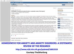 Homeopathy for anxiety and anxiety disorders: a systematic review of the research. http://www.ncbi.nlm.nih.gov/pubmed/16815519