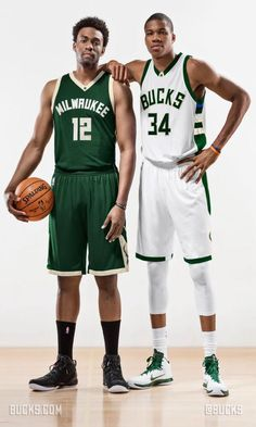 Giannis and Jabari showing off the Milwaukee Bucks  new home and away  uniforms. 210aa6cec