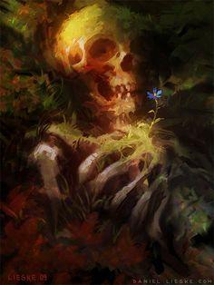 Artwork: life in death by fantasy artist Daniel Lieske. See more artwork by this featured artist on the fantasy gallery website. Arte Horror, Horror Art, Crane, Ghost In The Machine, Skull And Bones, Vanitas, Skull Art, Dark Art, Fantasy Art