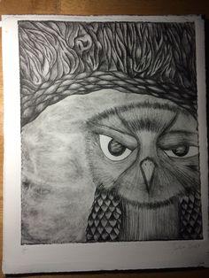 """""""Grumpy owl""""  Drypoint printmaking"""