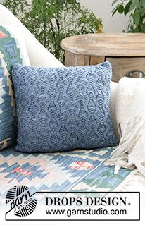Morgan's Daughter Pillow / DROPS 183-34 - Free knitting patterns by DROPS Design Knitted Cushion Covers, Knitted Cushions, Throw Cushions, Drops Design, Lace Knitting, Knitting Patterns Free, Crochet Patterns, Laine Drops, Knitting Needle Storage