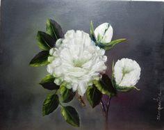 White Flowers Still Life Oil Painting by JellyBeanJump on Etsy #integritytt