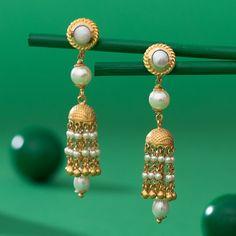 Pearl Jewellery Earring gms) - Fancy Jewellery for Women by Jewelegance Latest Earrings Design, Jewelry Design Earrings, Gold Earrings Designs, Pearl Jewelry, Pearl Earrings, Indian Jewelry, Infinity Earrings, Gold Jewelry Simple, Jewelry Stores