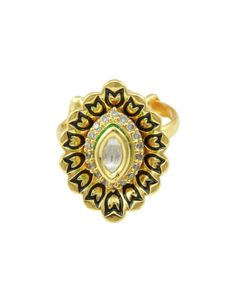 Marquise Kundan with CZ Crystals Ring by KundanCrystalBride